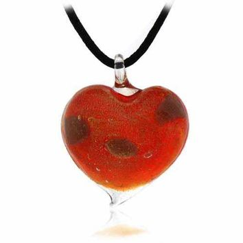 Murano Glass Red Glitter Heart Silk Pendant