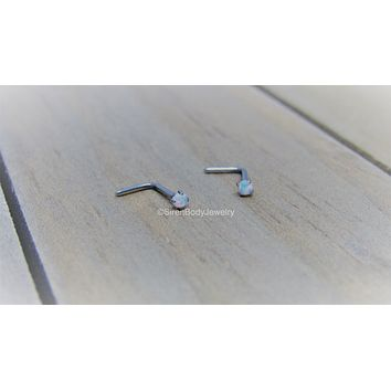 Opal nose stud 20g prong set white L bend hypoallergenic titanium nostril ring pick your anodized color