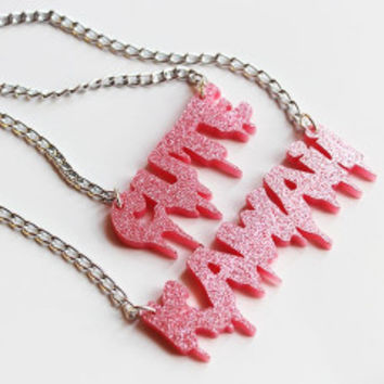 Kawaii Cute Pink glitter Pendant Necklace