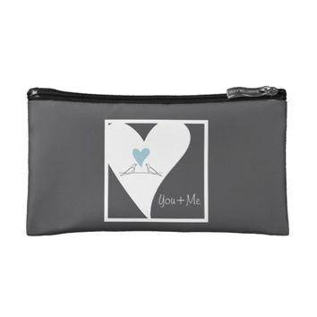 Personalized Light Blue Heart Rustic Modern Love Makeup Bag