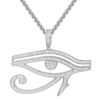 Iced Out Solitaire Evil Eye Designer Pendant Chain