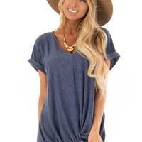 Denim Twisted Vintage Washed Top With Cuffed Sleeve