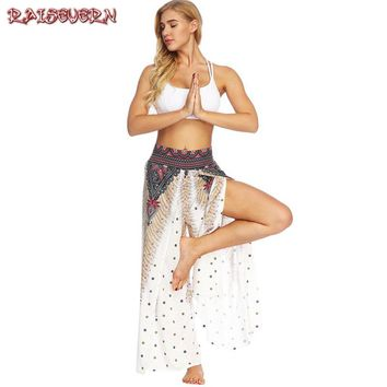 RAISEVERN High Split Peacock Feather Wide Leg Pants Women Summer Beach Boho Trouser Streetwear Elastic Wasit Casual Pants Female