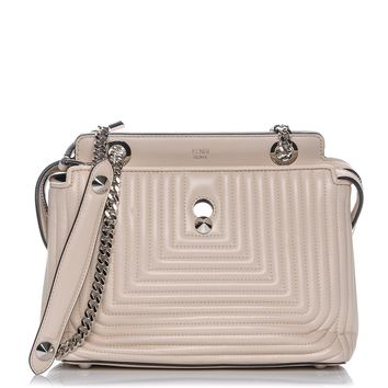 Fendi Dotcom Click Cream Small Quilted Lambskin Leather Chain Satchel Bag Silver Hardware 8BN299