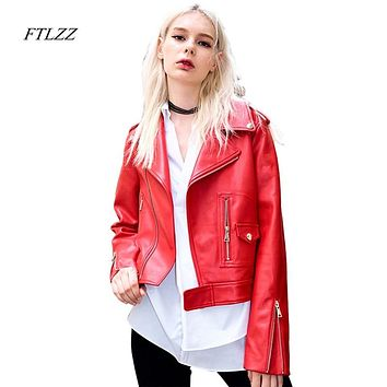 FTLZZ Women Red Leather Jacket Spring Autumn PU Jackets Ladies Long Sleeved Turn Down Collar Slim Moto Biker Leather Coat