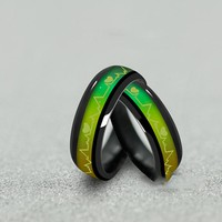Fashion Titanium Black Mood Rings Temperature Emotion Feeling  Rings Women Men Couples Jewelry