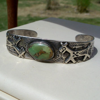 Vintage Fred Harvey Era Turquoise Silver Horse Bracelet Stamped Native American Cuff