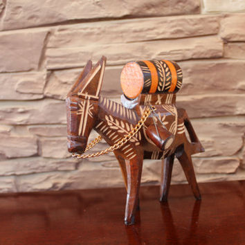 Vintage Hand Carved Wooden Donkey Folk Art Pack Mule Donkey with barrel
