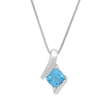 Sterling Silver Gemstone and Diamond Pendant-Necklace on an 18 inch Sterling Silver Box Chain