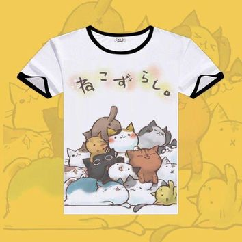 CREY6F 2017 Games Neko Atsume Cosplay T-shirts Black O-Neck Short Sleeve Costumes Cute Cat Print Shirt Men Tops Summer Fashion Tees