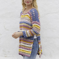 Rainbow sweater Summer top multicolor stripes Crochet tunic crochet top long sleeves top boho tunic crochet sweater beach top Drops Lilith
