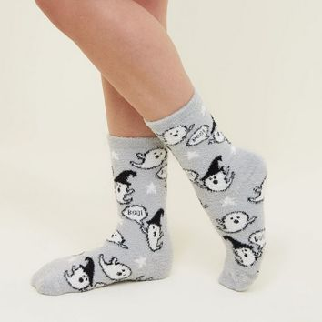 Grey Fluffy Halloween Ghost Socks | New Look