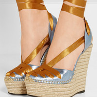 Gucci - Metallic leather and satin espadrille wedge sandals