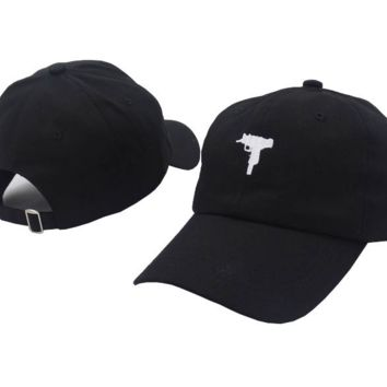 Black UZI Gun Embroidered Adjustable Cotton Baseball Cap Hat