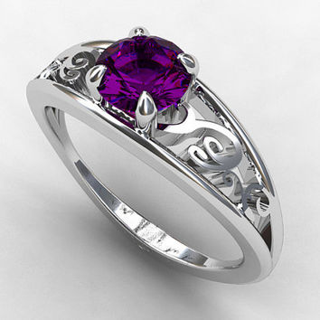 Amethyst ring engagement ring, filigree, purple engagement, solitaire ring, amethyst wedidng ring, unique, vintage style