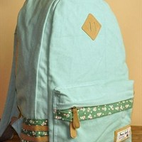 Mint Green Floral Print Backpack from Bblythe