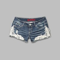 Bongo- -Junior's Lace Trim Jean Shorts-Clothing-Juniors-Shorts