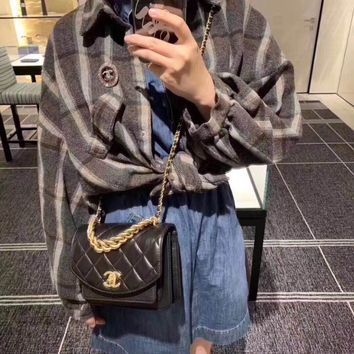 New CHANE SIZE 19*16*6 CM Double C Women Leather silver and gold on Chain cross body bag Chane vintage Chanl jumbo   Fashion Handbag Neverfull Tote Shoulder Bag Wallet Messenger Bags