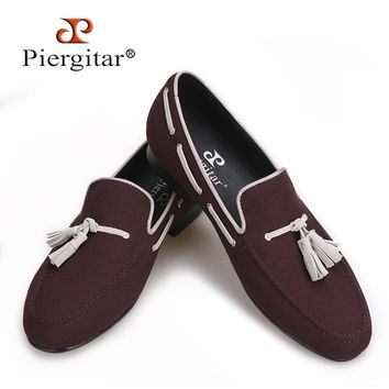 Piergitar 2017 Men Velvet shoes handmade Black tassel Men party and wedding loafer male Fashion Smoking slipper Size US 4-17
