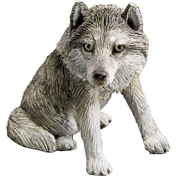 """Sandicast """"Small Size"""" Sitting Gray Wolf Sculpture"""