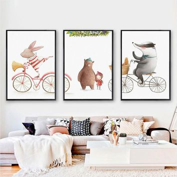 3 Pieces Watercolor Animals Rabbit Beer Canvas Paintings Pink Childhood Posters Prints Wall Art Pictures for Kids' Rooms Decor