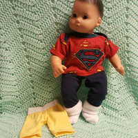 "Baby Doll Clothes to fit 15 inch baby doll BOY ""Superbaby!"" 15 inch playset top socks pants shorts Super Hero"