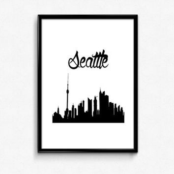Seattle Skyline Print - Seattle City Skyline - Seattle Print - City Print - Black and White Print - Typography Print - Seattle Wall Art