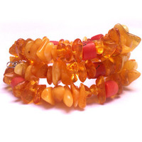 Butterscotch amber, honey amber and red coral necklace