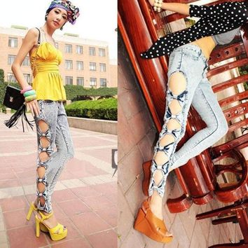 DCCKIX3 Vintage Detailed Woman Side Bow Cutout Ripped Denim Sexy Jeans Jeggings Trousers  5028 = 1904728132