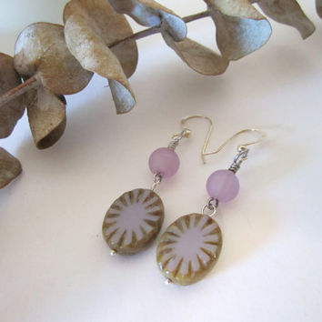 Oval Czech Glass Earrings - (in Lavender/Purple) by 636designs