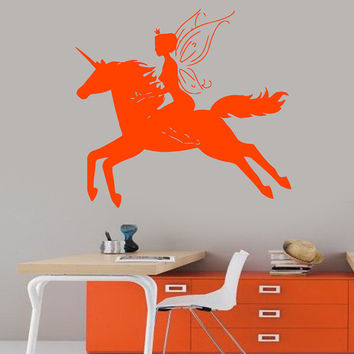 Wall Decals Vinyl Decal Fairy Girl Elf Riding a Unicorn Horse Home Vinyl Decal Sticker Kids Nursery Baby Room Decor kk75