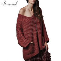 Oversize off shoulder autumn women sweaters and pullovers 2016 new casual pockets big size loose sweater mujer knitted jumpers
