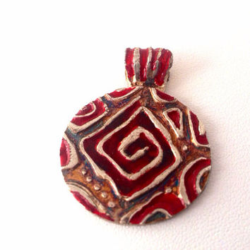 Fine Silver Red Enameled Pendant - handmade - swirl - maze - labyrinth - spiral - blood ruby red - Silver grey - large round - greek key