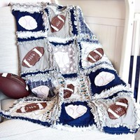 Sports Baby Quilt - Navy / Gray - Football / Baseball