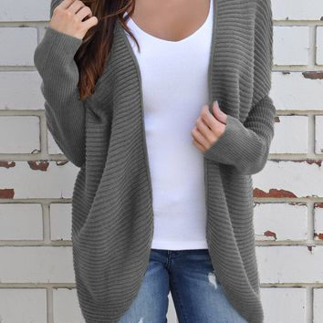 Gray Ribbed Knit Lace Up Back Sweater Cardigan
