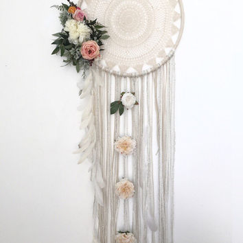 Extra large XL dreamcatcher with cascading feathers and your choice of silk flowers. Customize