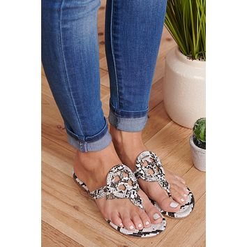 Ready Now Slip On Sandals (Black/White Snake)