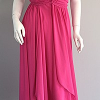 1970s Joy Stevens Hot Pink Vintage Flowy Grecian Disco Dress w/ Braided Details