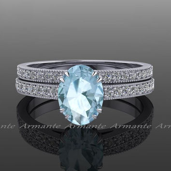 Aquamarine Engagement Set, Diamond And Aquamarine Bridal Set 14k White Gold Oval Aquamarine Wedding Set Re00025w