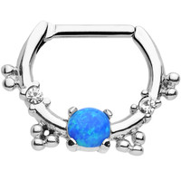 16 Gauge Clear Gem Blue Imitation Opal Simple Septum Clicker | Body Candy Body Jewelry