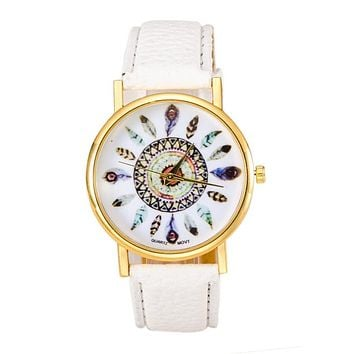 Wavors Hot Sale Women Watch Dream Catcher Printed Dial Clock Analog Quartz Watch PU Leather Bracelet Watches Relogio Feminino