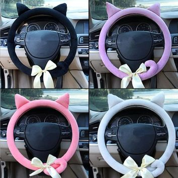 DONYUMMYJO Cute Cat Ears Steering Wheel Cover