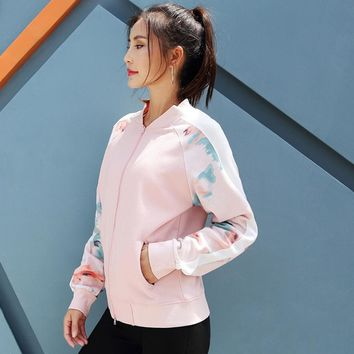 women Printed sports jacket Loose exercise fitting jacket GYM suit winter outdoor breathable running zipper Leisure coat