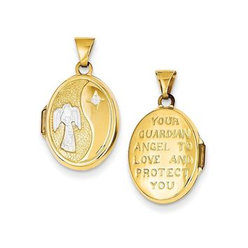 14k Gold Rhodium 17mm Guardian Angel Oval Locket