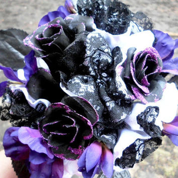 Purple Wedding Bouquet Bridal Gothic Inspired Cotton Satin 12 Lace