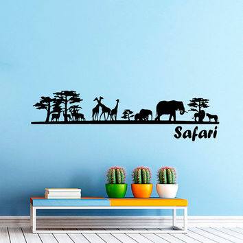 Safari Wall Decal Vinyl Sticker Decals Art Home Decor Mural African Safari Tree Animals Giraffe Elephant Jungle Bathroom Sahari Africa AN536