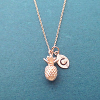 Personalized, Letter, Initial, Pineapple, Gold, Silver, Rose gold, Necklace, Birthday, Best friends, Sister, Gift, Jewelry