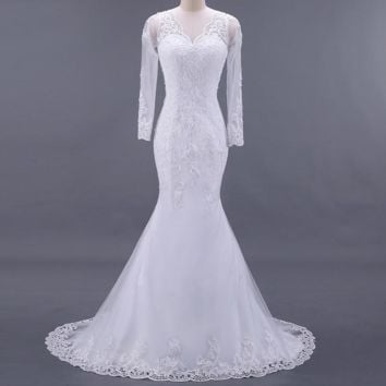 Vintage Lace Mermaid Wedding Dress Long Sleeve Appliques beaded Gowns