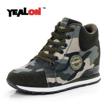 YEALON Running Shoes Women Hidden Heels Sneaker High Heel Sport Shoes Sneakers Glowing Running Shoes For Women Brand Wedge Heels