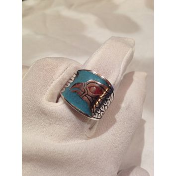 Vintage 1980's Native American Style Southwestern Turquoise Stone inlay Men's Hawk Ring